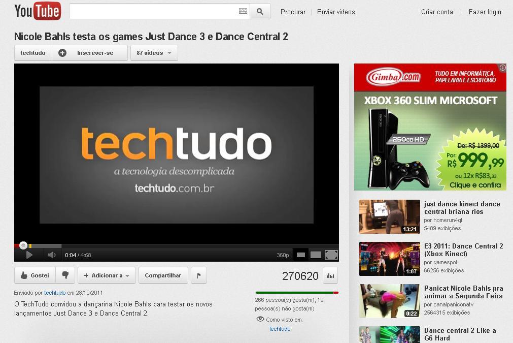 Youtube novo design - canal TechTudo. (Foto: Reprodução)