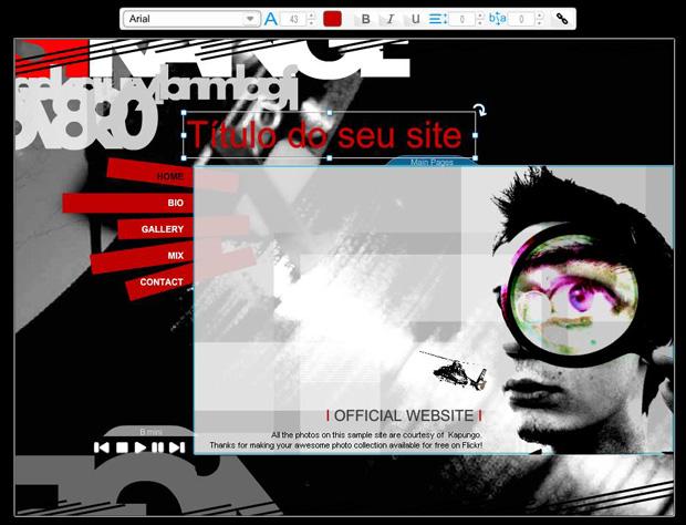Edição e personalização no site Wix (Foto: Reprodução)