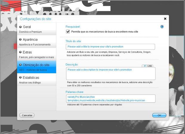 Configuração no Wix para que o site seja encontrado por mecanismos de busca (Foto: Reprodução)