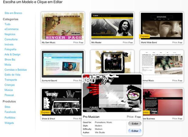 Wix: edite os modelos disponíveis para seu site (Foto: Reprodução)