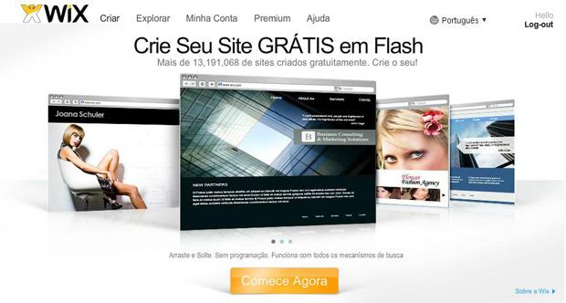 Wix: site para a criação gratuita de sites em Flash (Foto: Reprodução)