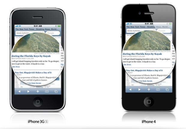 Comparação entre as telas do iPhone 4 e o iPhone 3GS (Foto: Reprodução)