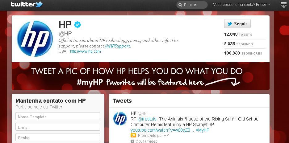 """Twitter com novas páginas para empresas - """"HP brand page"""" (Foto: Reprodução)"""