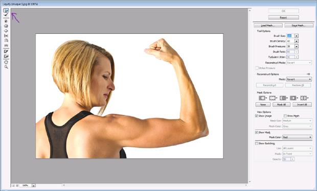 Ferramenta brush dá músculos (Foto: Reprodução/Isabela Catão)