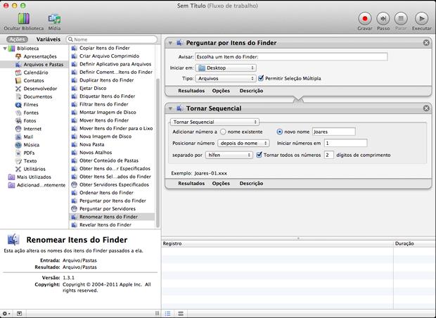 Como renomear múltiplos arquivos no Mac OS X Fluxo-2