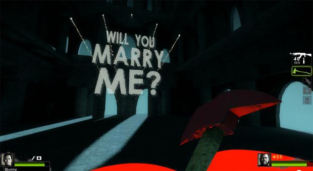 Pedido de casamento em Left 4 Dead 2 (Foto: Divulgação)