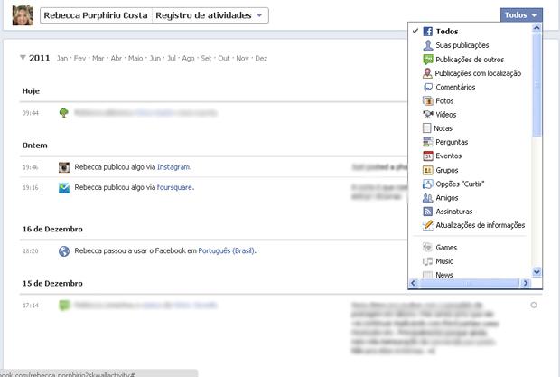 Escolhendo atividades no registro (Foto: Produção)