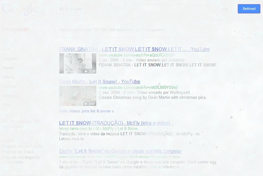 Efeito que coloca neve no Google virou febre na Internet (Foto: Reprodução)