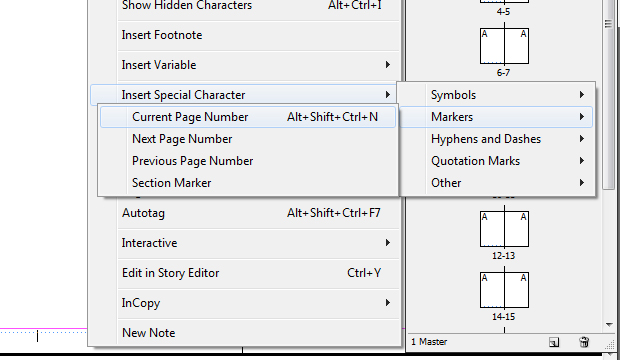 Numerando páginas no InDesign