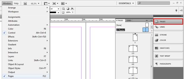 Opção Pages do InDesign