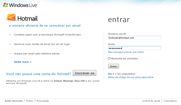 Página Inicial do Hotmail