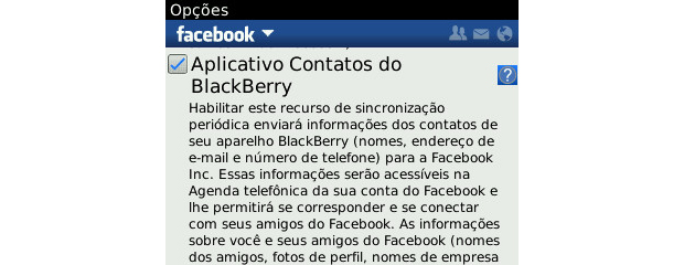 Aplicativo de Contatos do BlackBerry