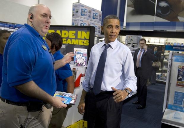 Presidente Obama comprando Just Dance 3 (Foto: Reprodução)