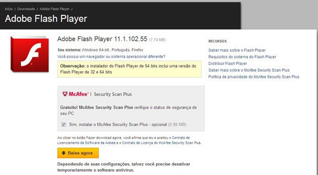 Página de download do Flash Player