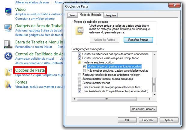 Configurando o Windows para exibir pastas e arquivos ocultos