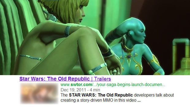 Busca por site de Star Wars: The Old Republic exibe foto pornográfica no Google (Foto: GameZone)