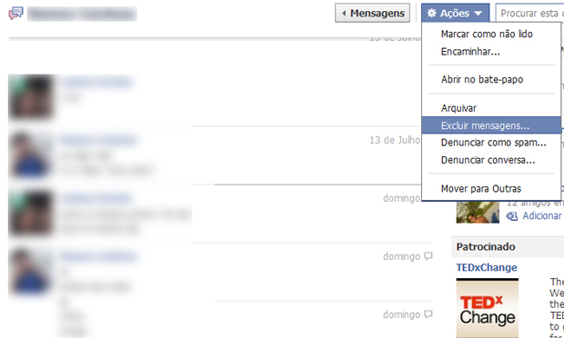 Apagando as conversas do Chat do Facebook