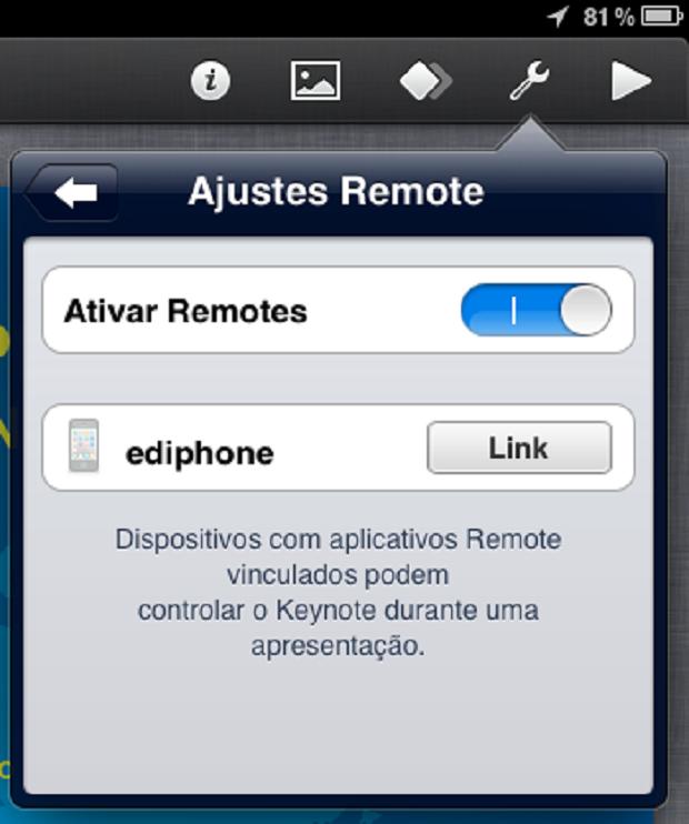iPhone pronto para ser vinculado ao Keynote (Foto: Reprodução)