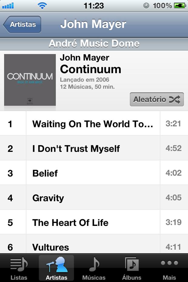 Músicas do iTunes, no iPhone (Foto: Reprodução/André Fogaça)