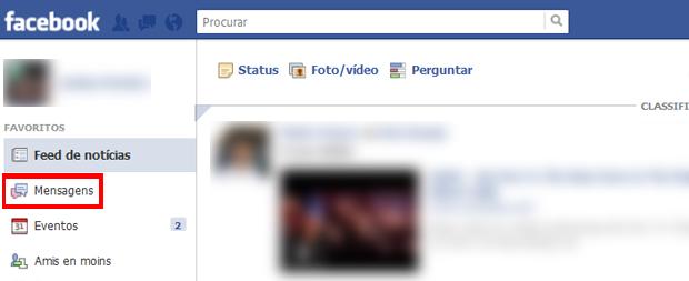 Selecionando as mensagens na página principal do Facebook