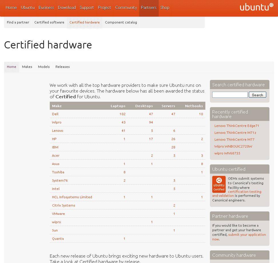 Site de hardwares certificados da Canonical. (Foto: Reprodução)