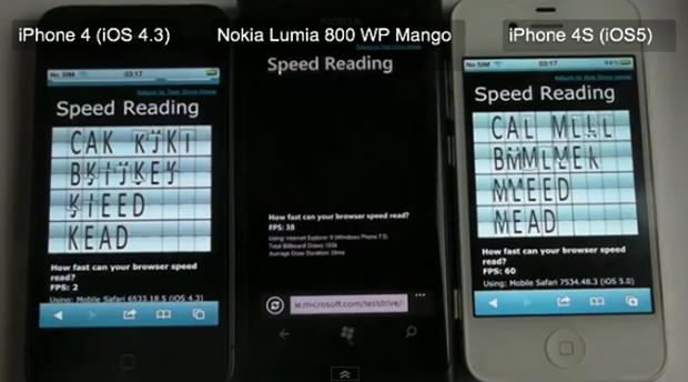 iPhone 4 vs Nokia Lumia 800 vs iPhone 4S (Foto: Reprodução)