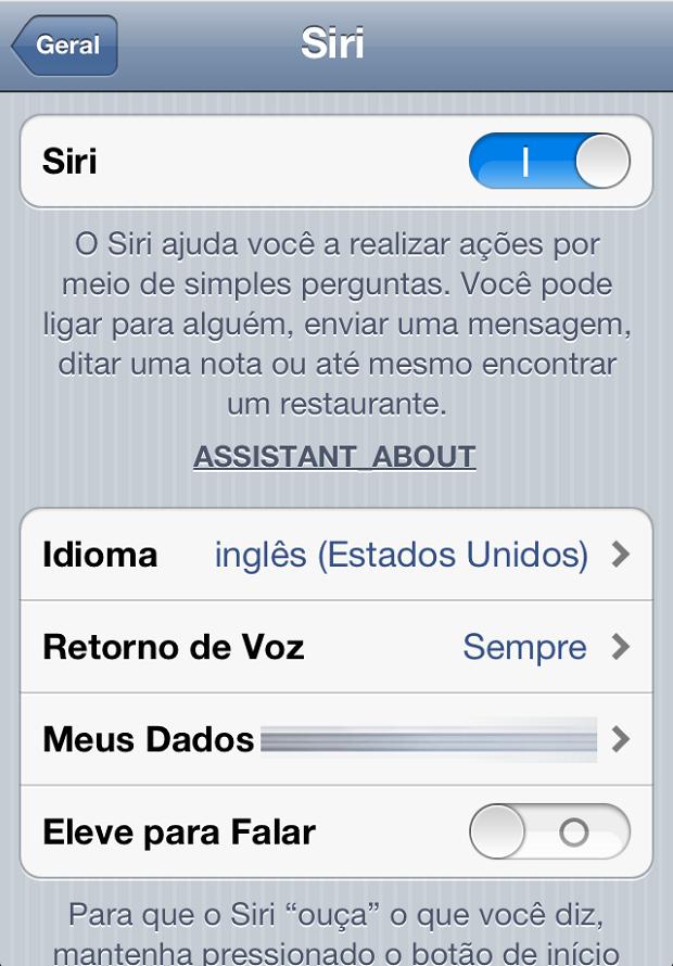 Ativando Siri no iPhone 4 (Foto: Reprodução)