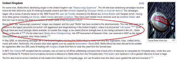 """Página da Stella Artois na Wikipedia com o termo """"wife beater"""" (Foto: Divulgação)"""