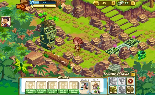 Tela do jogo Indiana Jones no Facebook (Foto: Reprodução)