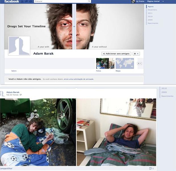O perfil falso de Adam Bark, criado para a campanha antidrogas do Israel Anti-Drugs Authority (Foto: Reprodução/ Gabriela Viana)