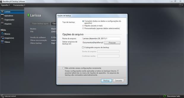 Opção de backup do seu Blackberry (Foto: Reprodução)