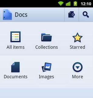 Menu do Docs Mobile tem seis opções (Foto: Reprodução)
