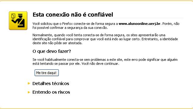 """Protocolo de segurança da página """"Aluno online"""" da Universidade do Estado do Rio de Janeiro (Uerj). (Foto: Reprodução)"""
