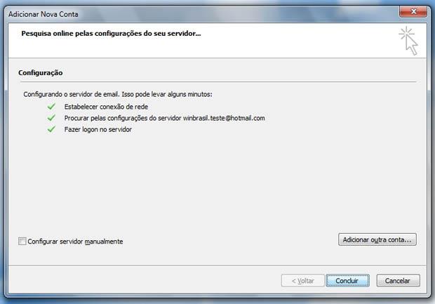 Janela de conclusão no Microsoft Outlook 2010 (Foto: Reprodução)
