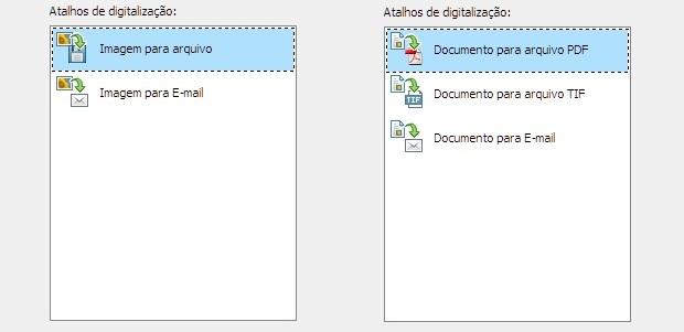 Opções de digitalização de imagem (esq.) e documento (dir.)