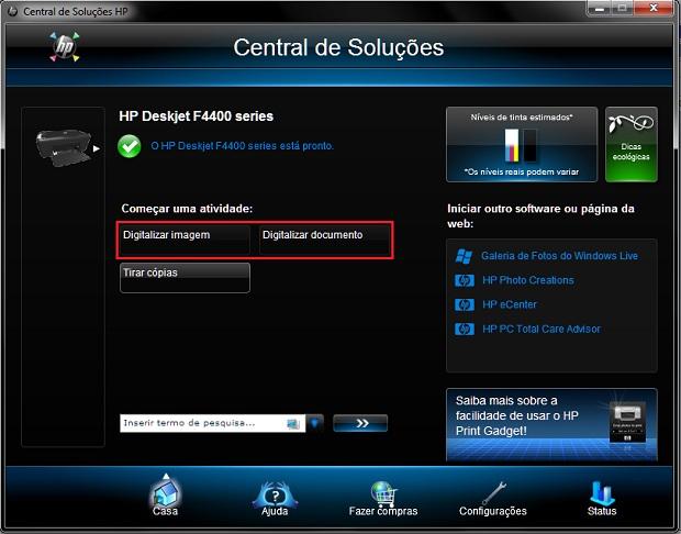 Opções de digitalização na Central de Soluções HP