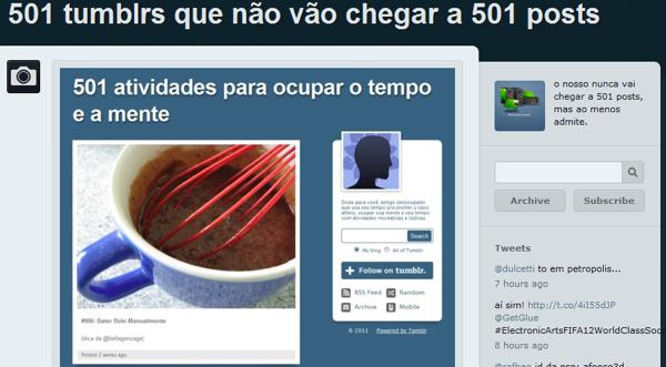 501 tumblrs de 501 listas que não chegaram a 500 posts (Foto: Reprodução/Tumblr)