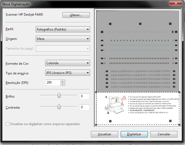 Selecionando apenas uma parte do documento para ser digitalizada