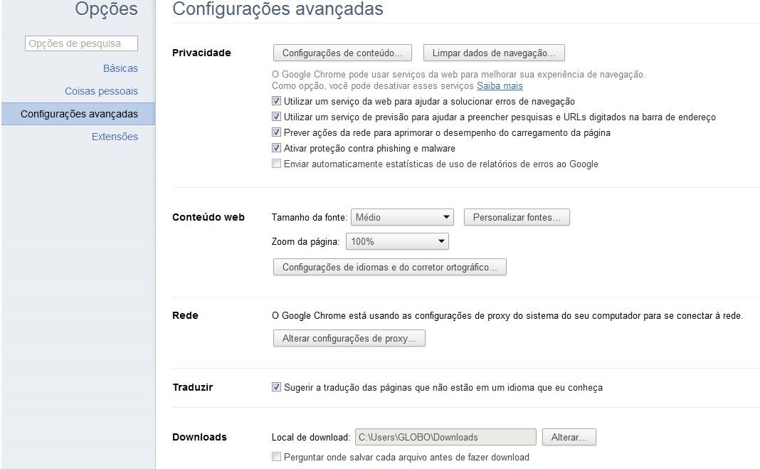 """Clique em """"Configurações avançadas"""" (Foto: Reprodução Verônica Vasque)"""