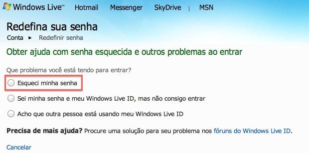 Opções do Windows Live ID