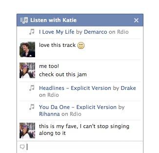 Ouvir música com amigos no Facebook (Foto: Reprodução)