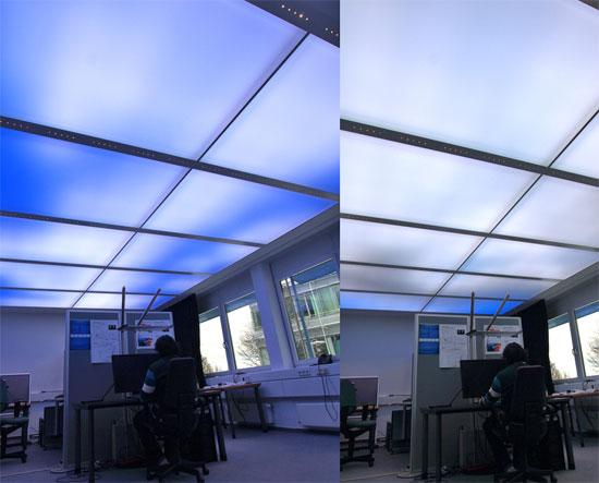 Teto com LEDs simula céus com nuvens. (Foto: Divulgação) (Foto: Divulgação)