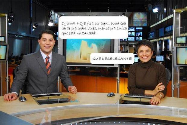 Jornal Hoje falando de Luiza no Canadá (Foto: Reprodução)