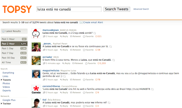 Tweets com a Luiza no Canad&#225; (Foto: Reprodu&#231;&#227;o)