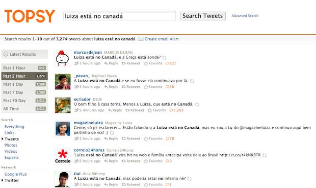 Tweets com a Luiza no Canadá (Foto: Reprodução)