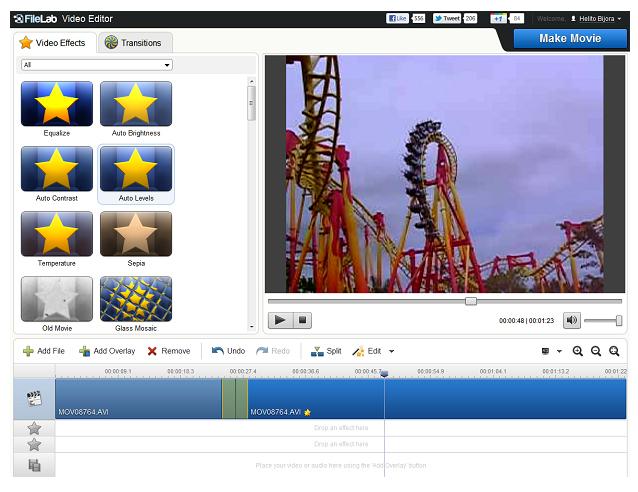 Editando um vídeo online (Foto: Reprodução)
