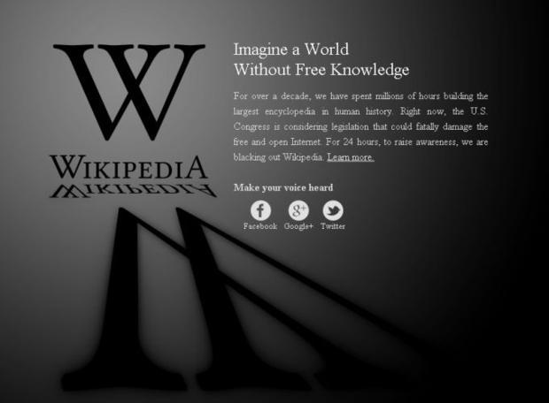 Página da Wikipedia, contra o SOPA (Foto - Reprodução)