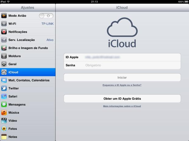 Acesso ao iCloud (Foto: Reprodução)