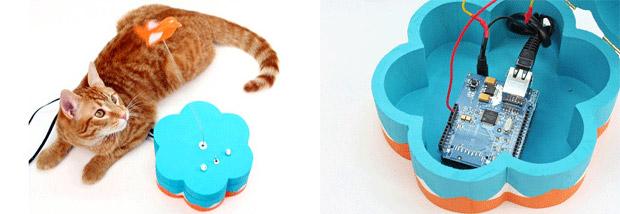 Gato se aproxima do brinquedo e envia uma mensagem para o Twitter usando o Arduino (Foto: Reprodução)