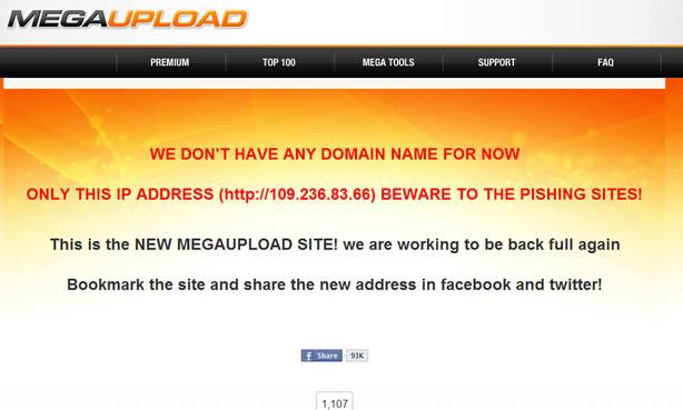 Organizadores do Megaupload resolveram colocar o site para funcionar apenas com o endereço de IP  (Foto: Reprodução)